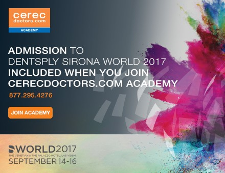 Admission to Dentsply Sirona World 2017 is now included when join cerecdoctors.com!
